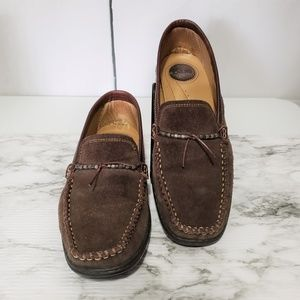 Bass Villeni Brown Suede Leather Beaded Loafers